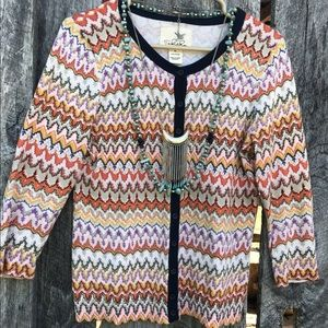 Anthropologie Tabitha chevron cardigan sweater M